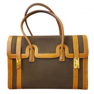 Hermes Vintage Canvas & Leather Drag Bag