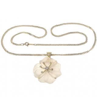 Bespoke 18ct Gold Set Frosted Petal Diamond Pendant Necklace