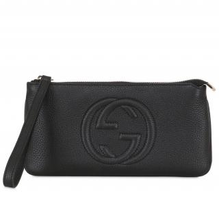 GG GG Black Grained Leather Pouch