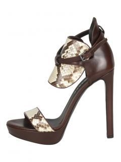 Belstaff Somerton Leather and python platform sandals