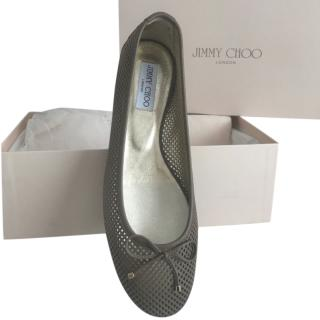 Jimmy Choo Taupe Lattice Ballet Pumps