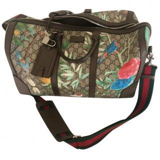 Gucci Limited Edition floral printed logo canvas shoulder tote bag