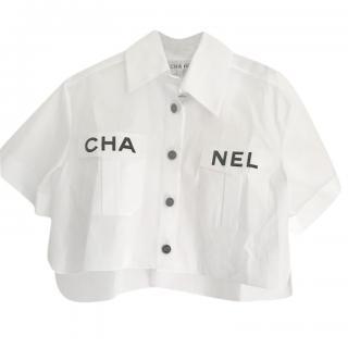 Chanel SS19 Cropped White Logo Shirt