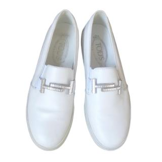 Tod�s white logo embellished loafers