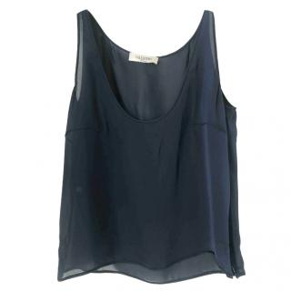 Valentino Navy Silk Sleeveless top