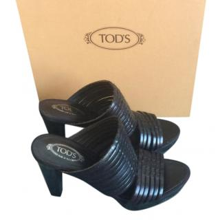 Tod�s Black Leather Platform Mules
