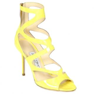 Jimmy Choo Hilary Strappy Patent Yellow Sandals