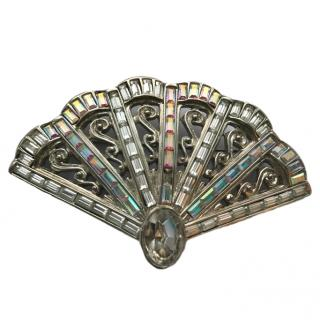 YSL Rare Couture Crystal Fan Brooch