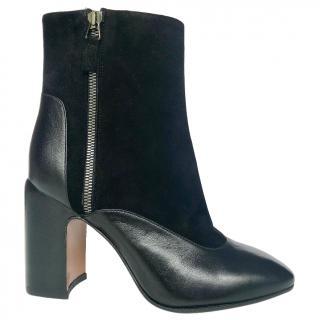 Aquatalia leather & suede black ankle boots