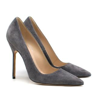 Manolo Blahnik Grey Suede Pumps