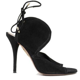Aquazzura Black Suede Cut-Out Feature Heels