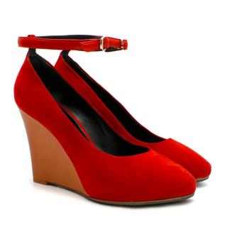 Celine Red Suede Wedge Pumps