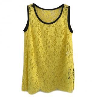 Dolce & Gabbana Yellow Lace Tank Top