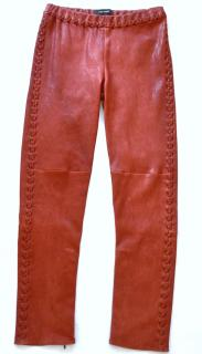 Isabel Marant red leather stitch detail pants