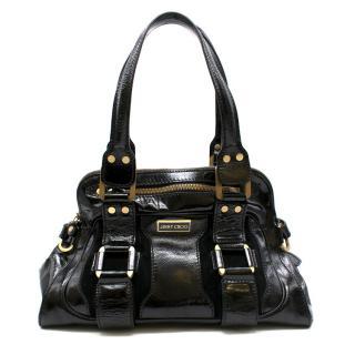 Jimmy Choo Malena Black Patent Leather Handbag