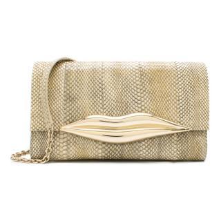 Diane Von Furstenberg Beige Snakeskin Lip Clutch Bag