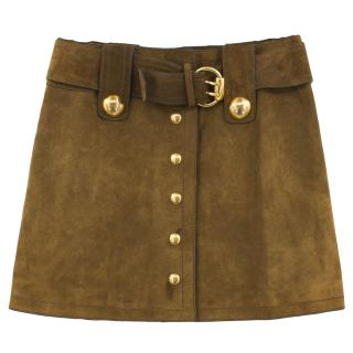 Gucci Brown Suede A-Line Mini Skirt