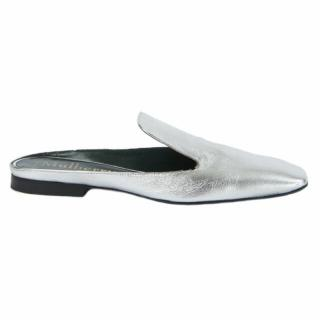 Mulberry Metallic Silver Slides