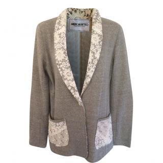 American Retro Wool Blend Lace-Trim Cardigan