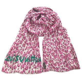 Louis Vuitton pink leopard scarf