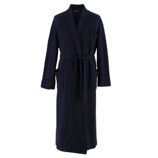 Loro Piana Navy Cashmere Tie Waist Robe