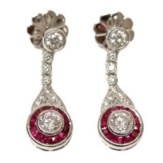 Bespoke 18ct White Gold Diamond & Ruby Earrings