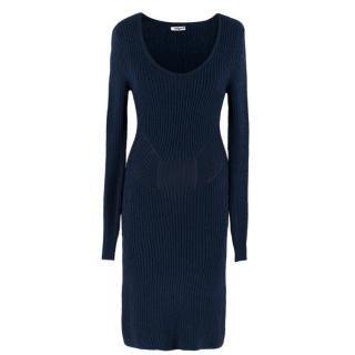 Cacharel Navy Ribbed Knit Dress