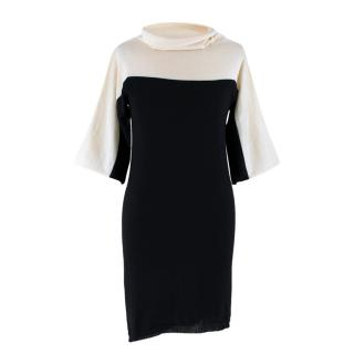 Escada Black & White Turtleneck Wool Dress