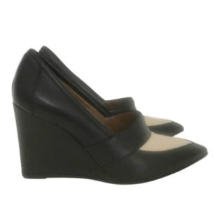 Hermes Leather & Canvas Point-Toe Wedge Pumps