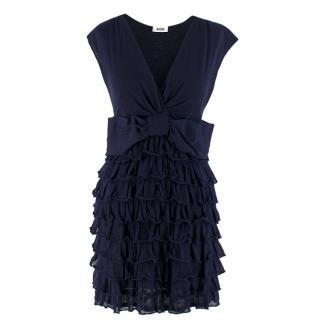 Moschino Navy Layered Ruffled Mini Dress