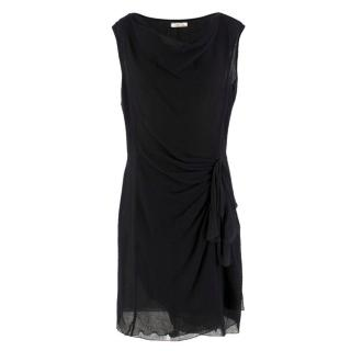 Nina Ricci Black Wool Sheer Wrap Dress