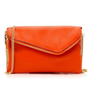Henri Bendel Orange Foldover Clutch Bag