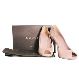 Gucci Pink Peep Toe Patent Leather Pumps