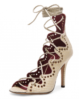 Isabel Marant Lelie Snaky Ghillies Calfskin Leather Sandals