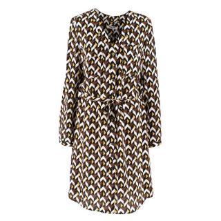 Max & Moi Geometric Print Silk Dress