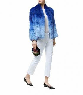 Max & Moi Blue Ombre Rabbit Fur Jacket