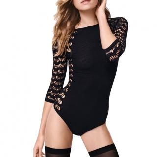 Wolford Black Mesh String Body