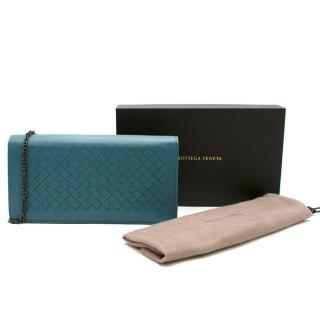 Bottega Veneta Blue Intrecciato Leather Chain Wallet
