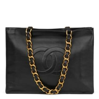 Chanel VIntage Black Leather XL Shopping Tote