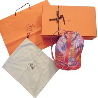 Hermes leather and silk Soie Cool Bag 22