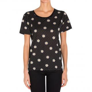 Saint Laurent Daisy print cotton t shirt