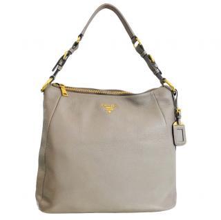 Prada Taupe Leather Tote Bag