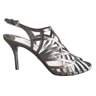 Prada Metallic Pewter Caged Sandals