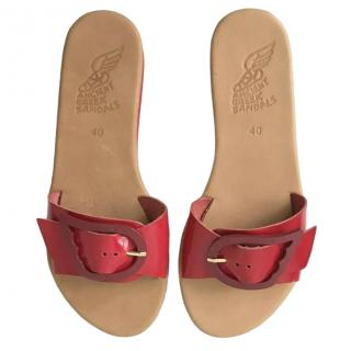 Ancient Greek Sandals Red Leather Aglaia Flat Sandals