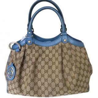 Gucci Blue Leather & Canvas Supreme Sukey Tote