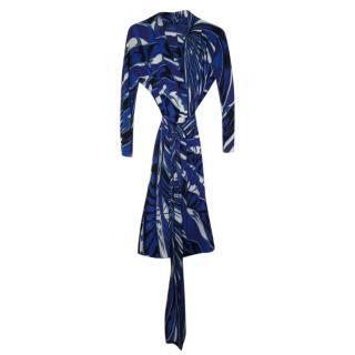 Emilio Pucci Blue Printed Silk Dress