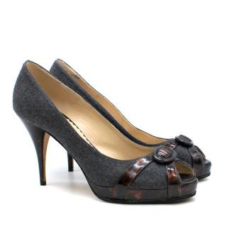 Oscar de la Renta Leather & Felt Platform Peep-Toe Pumps