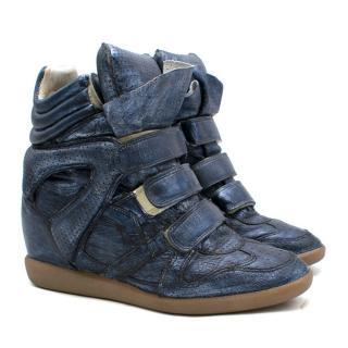 Isabel Marant Metallic Blue Bekett Leather Sneakers