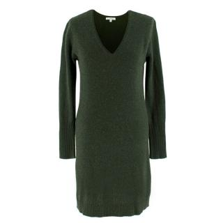 Ns Cashmere Green Long Sleeve Cashmere Dress