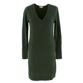 Ns Cashmere Green Long Sleeve Cashmere Dress